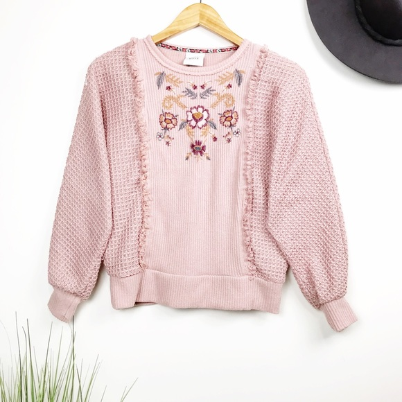 Knox Rose Blush Embroidered Dolman Knit Sweater XS